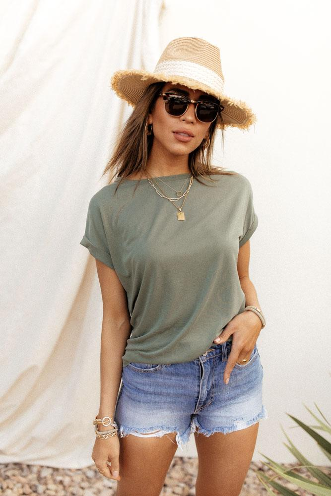 Olive Green Tee Bohme - How to Wear Cowboy Boots