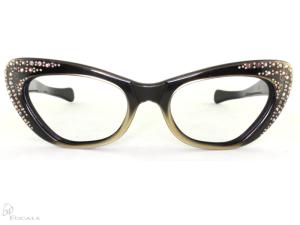 Woman's Eyewear from Old Focals Vintage Cateyes Black with Rhinestones
