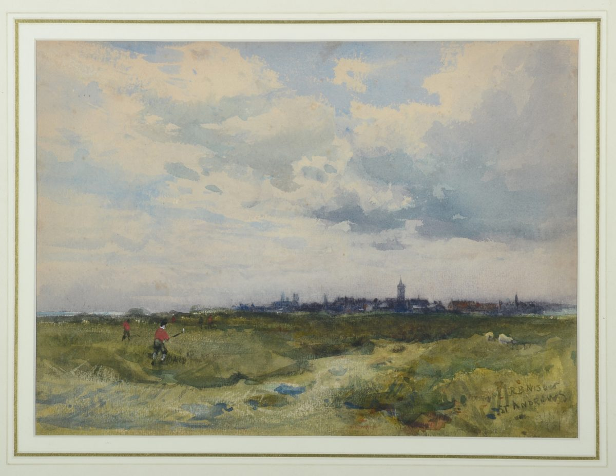 Image-of-watercolor-by-Robert-Nesbitt-of-the-Old-Course-St.-Andrews-1895-e1496254280186