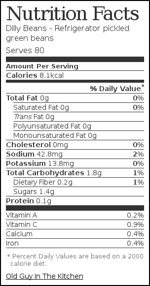 Nutrition label for Dilly Beans - Refrigerator pickled green beans