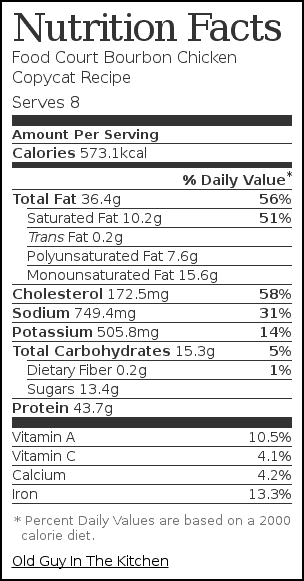 Nutrition label for Food Court Bourbon Chicken Copycat Recipe