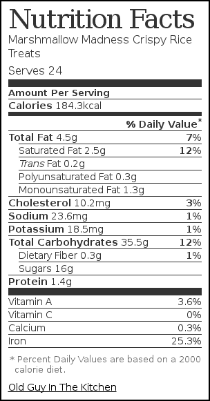 Nutrition label for Marshmallow Madness Crispy Rice Treats