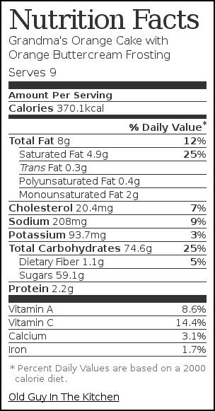 Nutrition label for Grandma's Orange Cake with Orange Buttercream Frosting