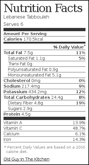Nutrition label for Lebanese Tabbouleh