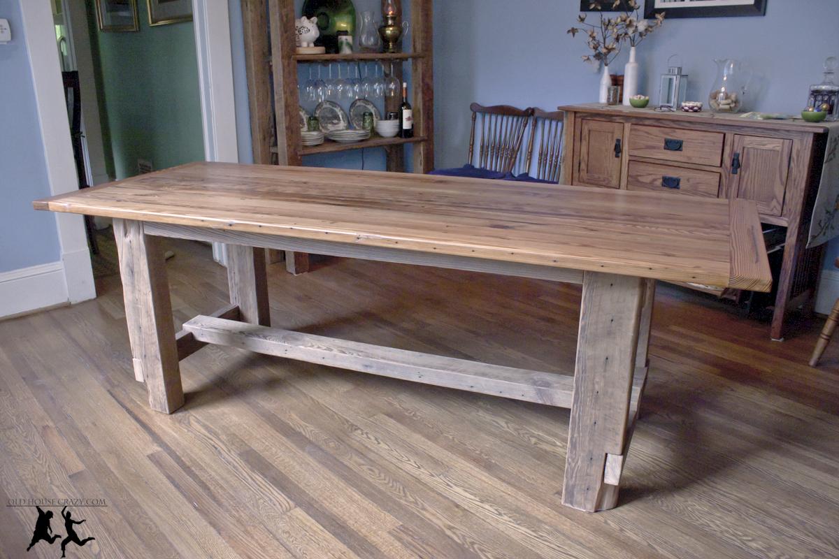 reclaimed heart pine farmhouse table