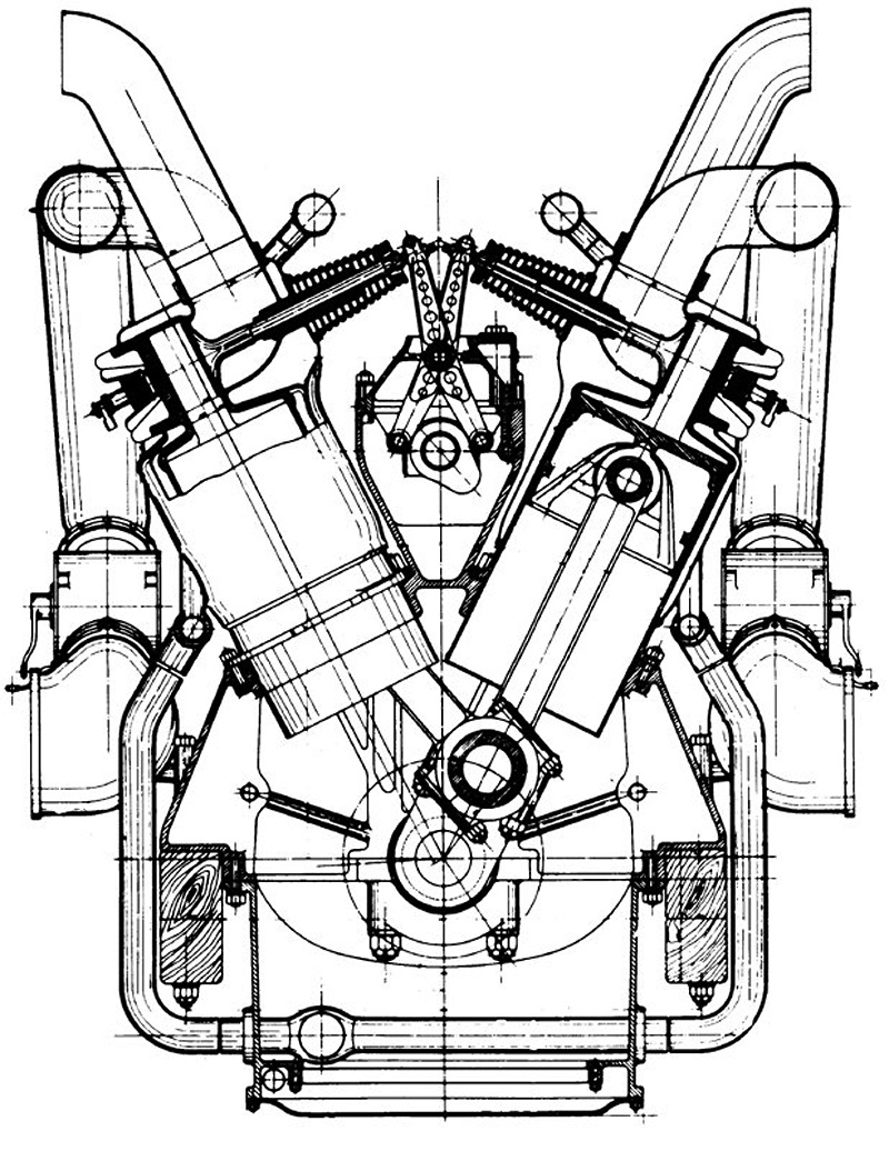Lancia v 12 aircraft engine section