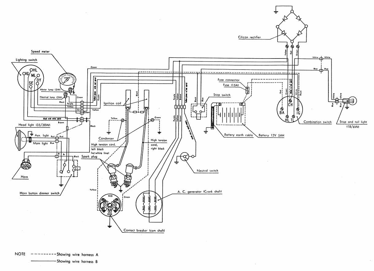wiring diagram for 1970 honda cb350