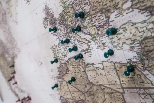 Europe pin map travel