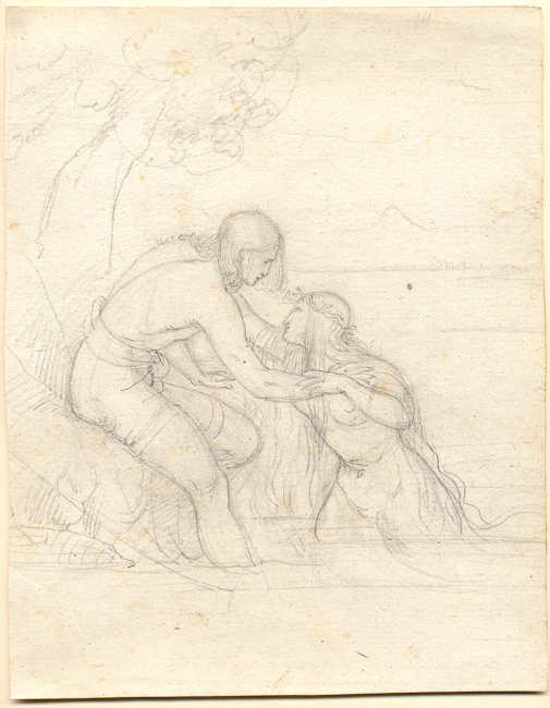 Ferdinand Schubert (Vienna 1824 – Vienna 1853). The Fisherman and the Water Nymph. (a study for a painting in the Kunsthaus Zürich illustrating Goethe's Der Fischer). Graphite on cream laid paper. 238 x 185 mm, 9 5/16 x 7 1/4 in. Private Collection, Zurich.