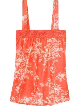 Women: Women's Crochet-Trim Babydoll Tops - Orange Floral