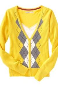 Women: Women's Argyle V-Neck Cardigans - Mellow Yellow