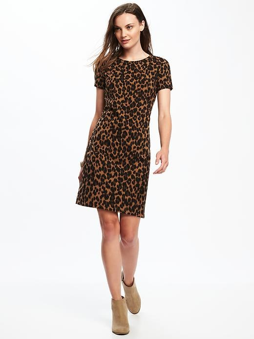 Old Navy Womens Fitted Crew-Neck Tee Dress For Women Brown Leopard Size S