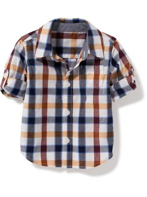 Old Navy Plaid Roll Sleeve Shirt For Baby Size 18-24 M - Blue/orange plaid