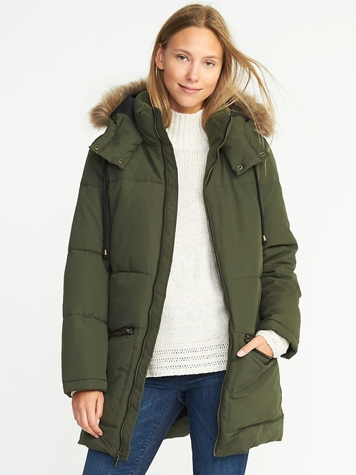 Old Navy Long Frost-Free Hooded Parka in Green