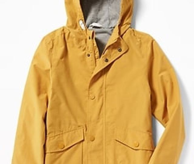 Water Resistant Hooded Rain Jacket For Boys