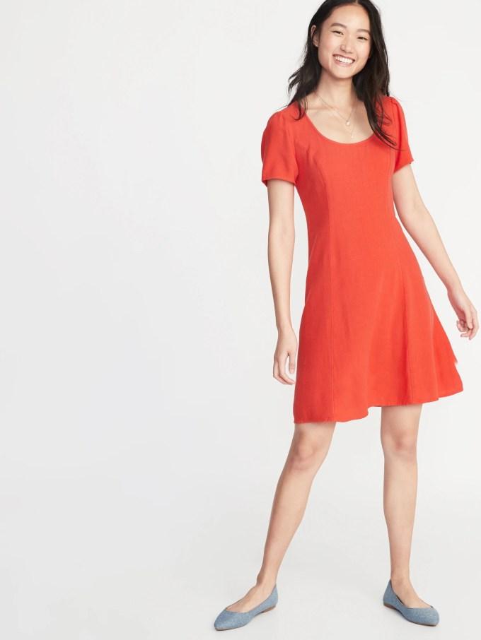 Linen-Blend Fit & Flare Dress for Women