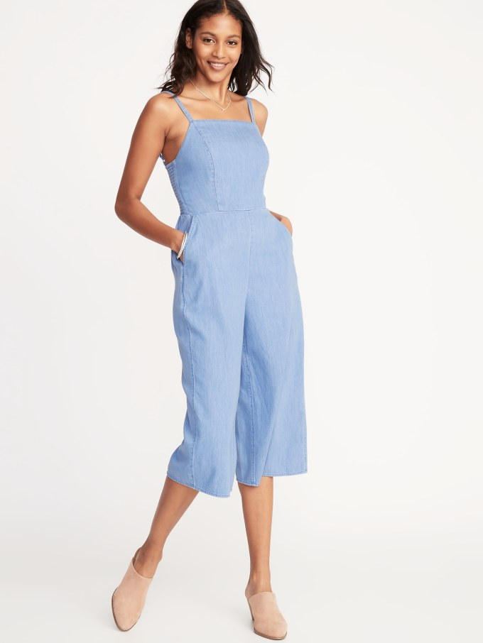 Waist-Defined Square-Neck Cami Jumpsuit for Women