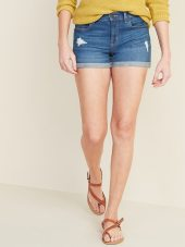 Mid-Rise Distressed Boyfriend Jean Shorts for Women -- 3-inch inseam