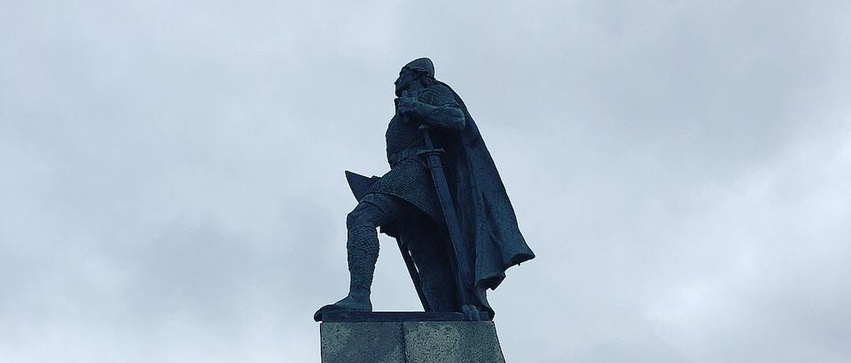 A picture of Leif Eirksson's statue in Reykjavík, Iceland