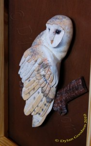 close up of a relief carving of a small barn owl in a shadow box frame