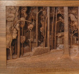 Close up of the left side of Dylan Goodson's Homestead carving