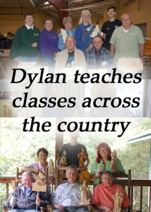 Photo collage of group photos taken of Dylan Goodson's woodcarving classes.  Clicking on this image will take you to the Woodcarving Classes page.