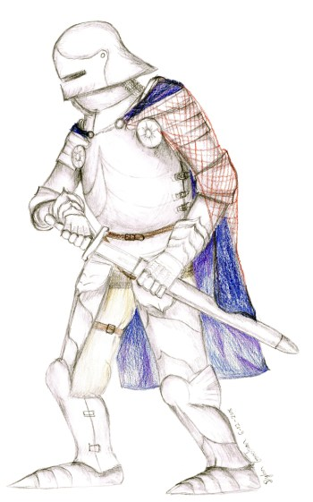 drawing of a 15th Century Gothic Knight