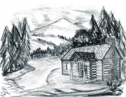 Drawing of Dylan's northwoods cabin design.