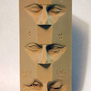 Dylan Goodson's study stick on carving eyes