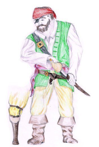 Concept drawing of the Pirate variation of the Swordsman design