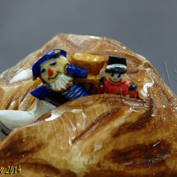 Santa Claus woodcarving Dylan Goodson close up of bag