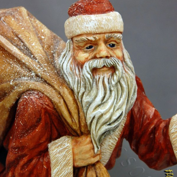 Santa Claus woodcarving Dylan Goodson close up of face