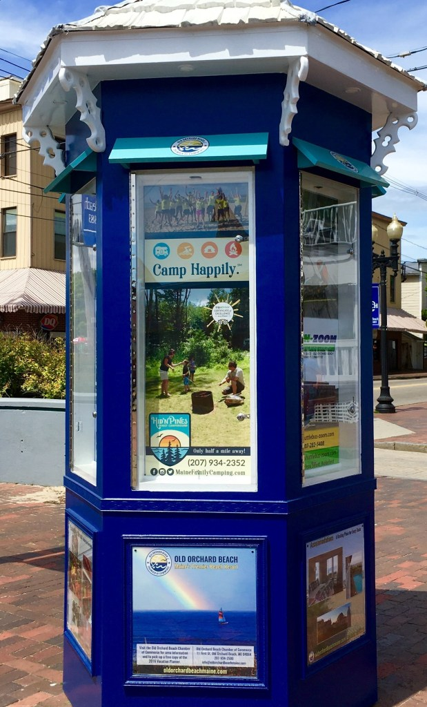 old orchard beach downtown kiosk advertising chamber of commerce