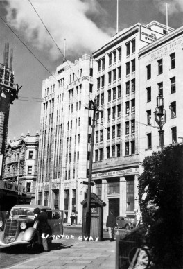 Lambton Quay with MLC building (completed 1940) under construction (far left)
