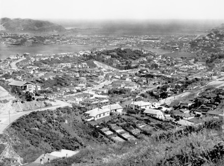 View from Mount Victoria showing Hataitai, Evans Bay, Rongotai and Lyall Bay
