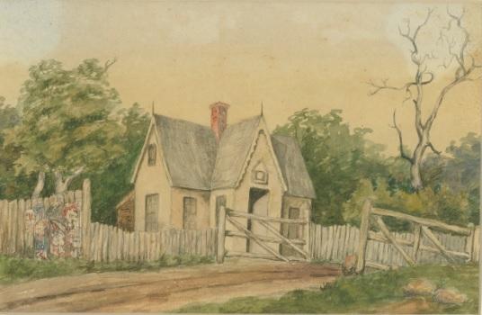 Tollgate at St Kilda road 1870 – Watercolour painting by Julia De Mole