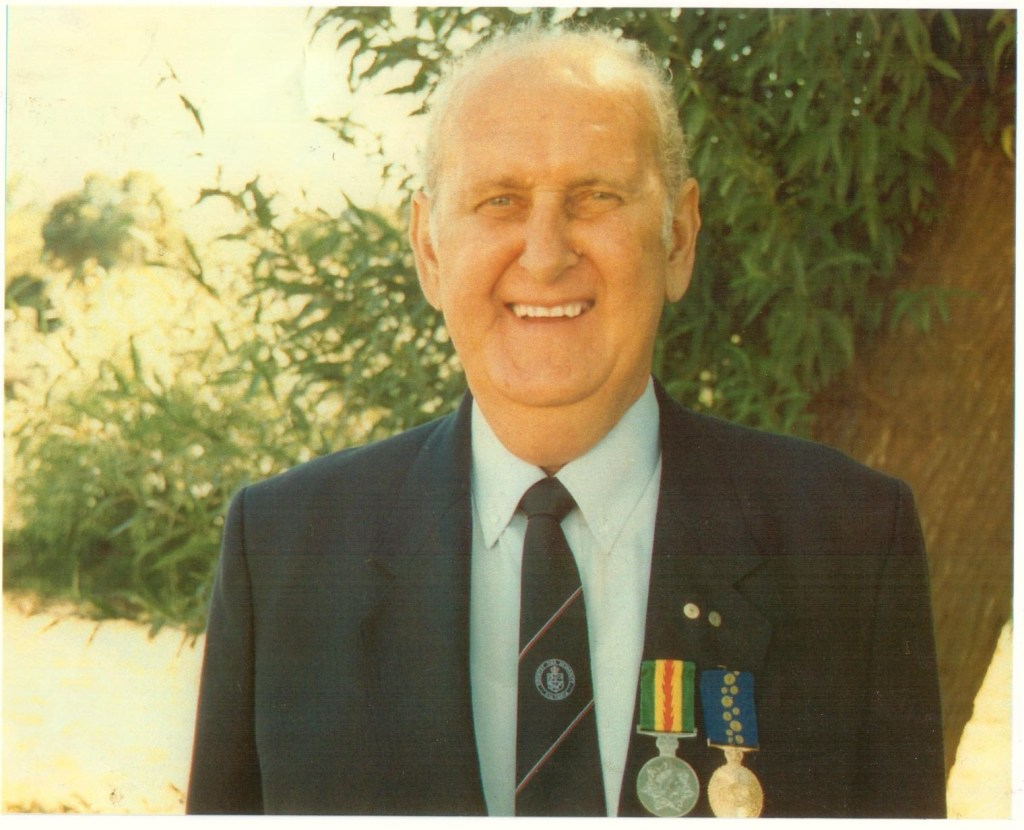 R.B. Robson (Jim) with his honours medals.