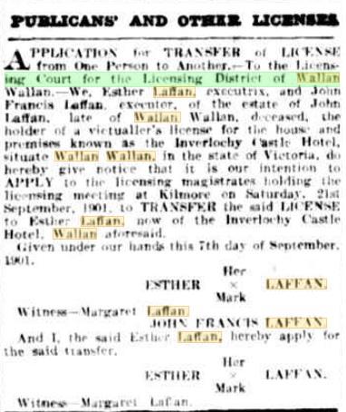 Transfer of license to Esther. Kilmore Free Press - 9th November, 1901
