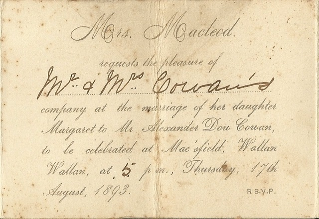 Wedding invitation of Margaret Macleod