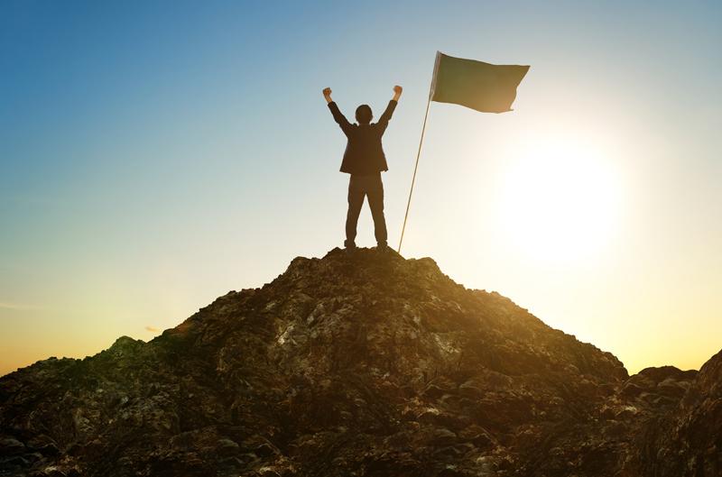 Businessman achieving results & goals