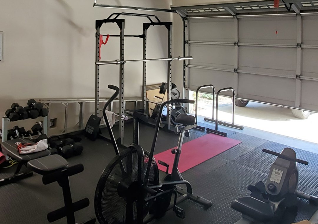 Home gym of Dr. Neal Malik of the Optimal Health Daily Podcast