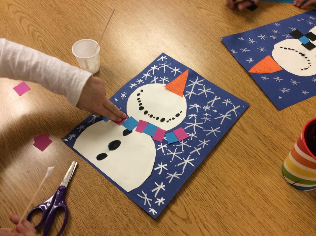 Kindergarten Snowmen Looking Up