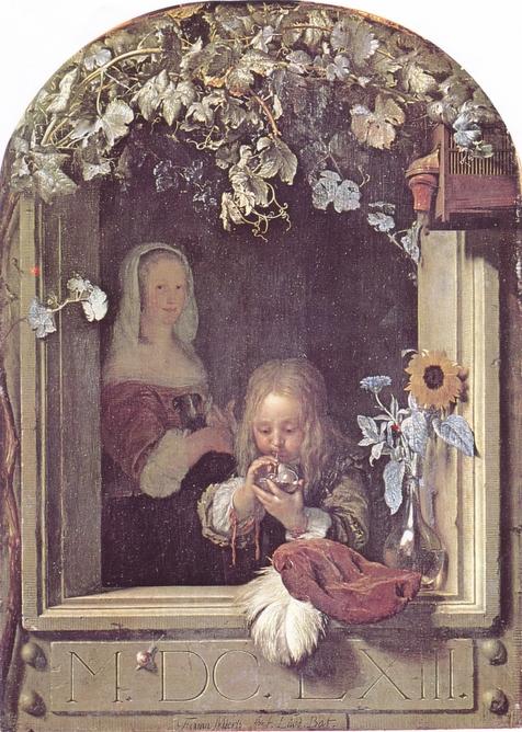 Frans van Mieris - Boy blowing bubbles