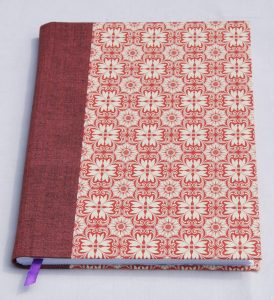 A5 hardback hardbound journal with red and cream patterned cover