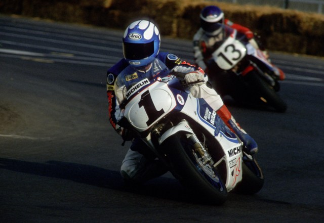 Dale Quarterely on the championship winning Team Lockhart Suzuki at the Memphis round of the AMA/Motoworld Endurance Championship in August of 1987. (Larry Lawrence photo)
