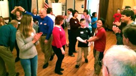 """Families enjoying our monthly Community """"Barn"""" Dances."""