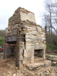 Chestnut lintel, old stone chimney, old stone fireplace, Rhode Island, early America, stone masonry, old stone houses, architect Leonard J. Baum