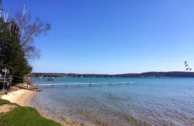 Crystal Lake, Beulah, Michigan, Shoreline, old stone homes for sale, old stone houses for sale, Michigan waterfront homes, lakefront properties