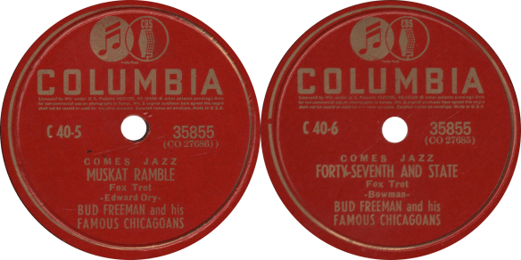 """Muskat Ramble"" and ""Forty-Seventh and State"", recorded July 23, 1940 by Bud Freeman and his Famous Chicagoans."