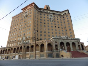 A front view of the gargantuan Baker Hotel.